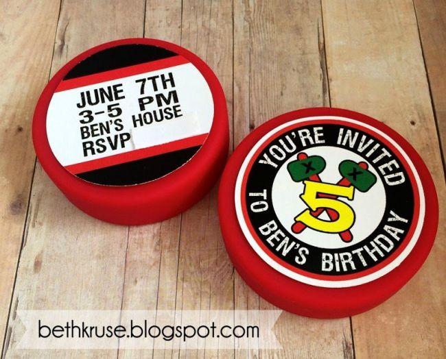 Boys Hockey Themed Birthday Party Invitation Ideas