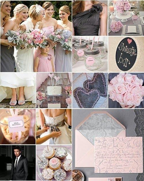 ♥♥ Poradnik ślubny ♥♥ Mój cudowny ślub : Szarość i pastelowy róż - jako idealne…