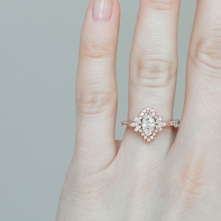 Marquise Moissanite Engagement Ring // Marquise Diamond Engagement Ring // Diamond Halo Engagement