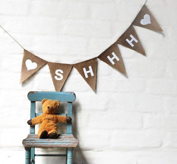 SHHH Banner Hessian Nursery Baby Children Celebration Party Banner Bunting Decoration
