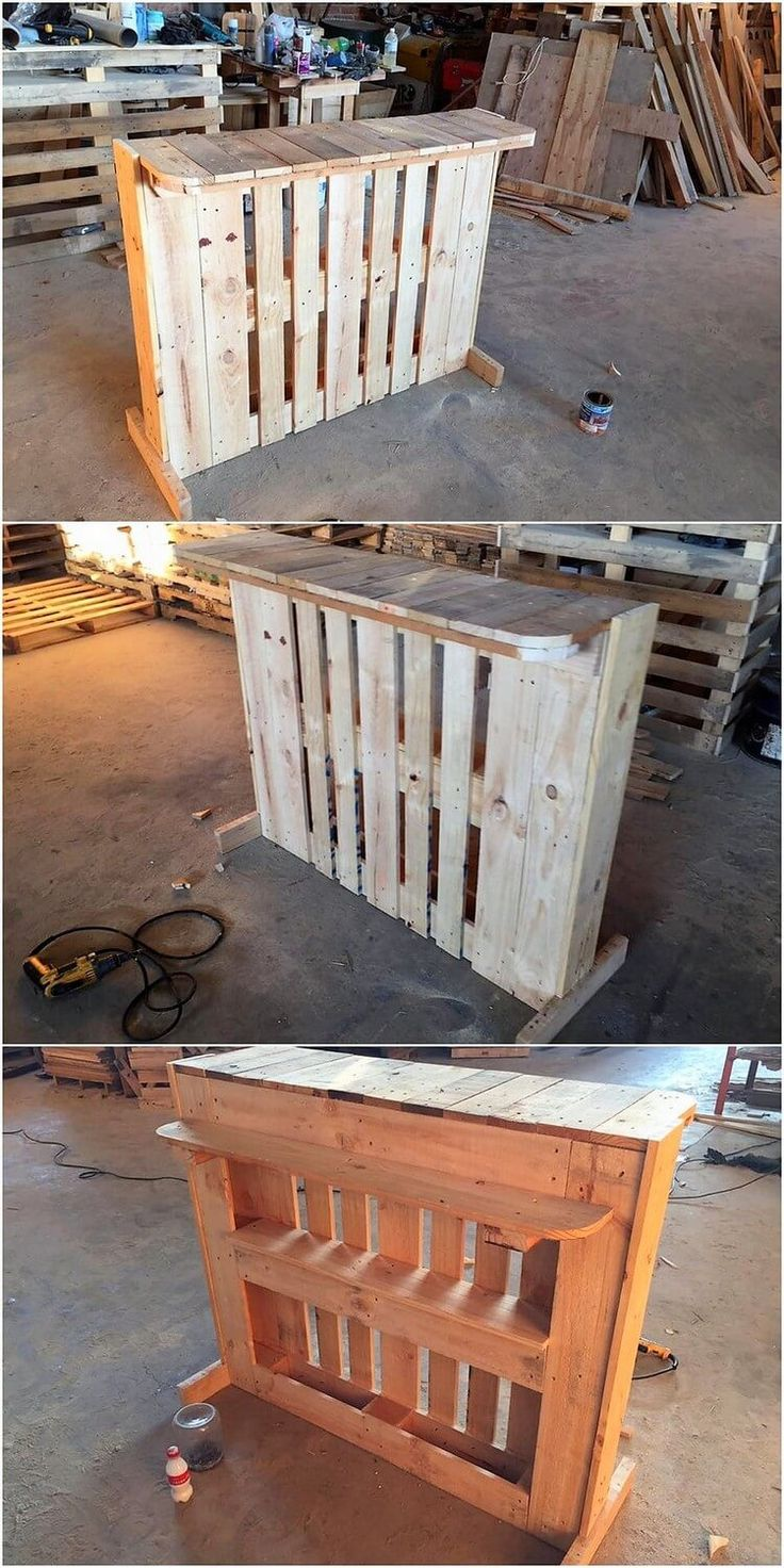 As in favor of your garden furniture set, including the creative effect of the wood pallet counter table is much an attraction option for you. This pallet counter table is light in weight and simple in terms of designing which you can easily carry along with you from one place to another.