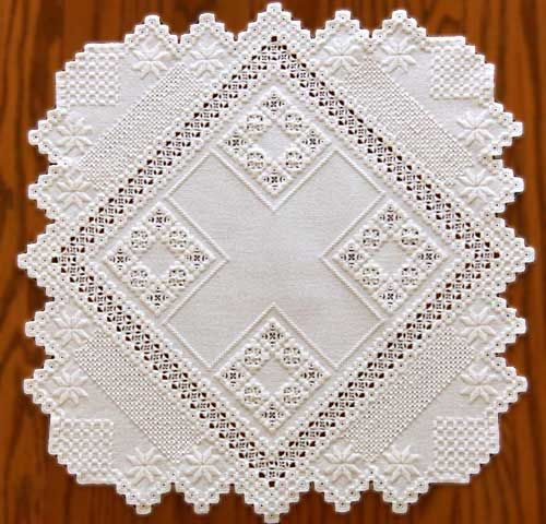 Nordic Needle Features Newsletter - Gen Zarbok:  This White Square Hardanger piece is from the book, Exquisite Originals in Hardanger Embroidery, no longer in print.