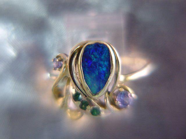Ocean Blue Fire Australian Black Opal Doublet Boulder Opal Ring