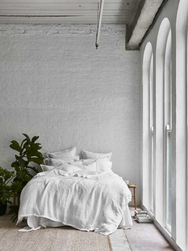 Pure Linen Quilt Cover Set In Cloud
