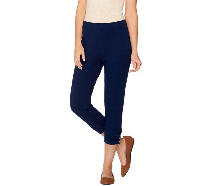 Susan Graver Weekend Cotton Spandex Capri Pants w/ Charm Button Detail