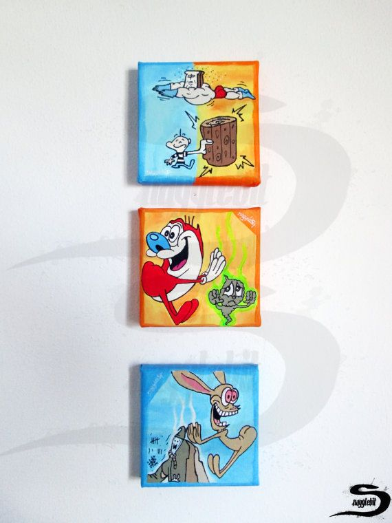 Three small Ren & Stimpy acrylic paintings. Hand made, painted with acrylic paint on canvas. Original fan art inspired by the nineties 90s animated cartoon TV show Ren and Stimpy. Colorful and bright home wall decor, perfect for a childs kids room. or a 90s child at heart! First painting - Orange background, Stimpy and Stinky. Son of Stimpy. Second painting - Azure sky blue background, Ren and his imaginary friend. Hermit Ren. Third painting - orange and blue background, its log ! and Pow...