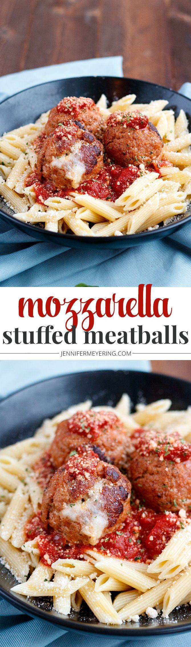 Mozzarella Stuffed Turkey Meatballs - JenniferMeyering.com