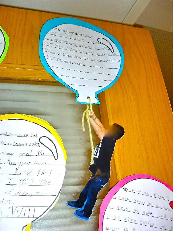 "Hopes and dreams writing display after reading ""Oh the Places You Will Go"" (no link, but cute idea)"