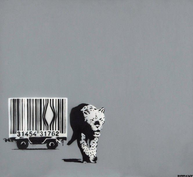 Banksy, Barcode Leopard, 2002, aérosol et acrylique sur toile, 84 x 91,5 cm. Estimation : 450 000/550 000 €. Lundi 30 novembre, salle 1 - Drouot-Richelieu. Leclere - Maison de ventes SVV.