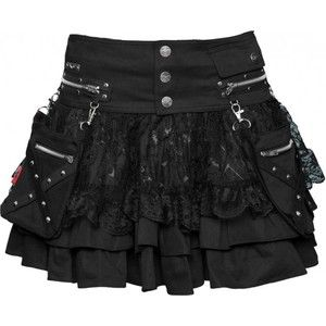 Gothic clothing: 2-in-1 women's skirt by Queen of Darkness