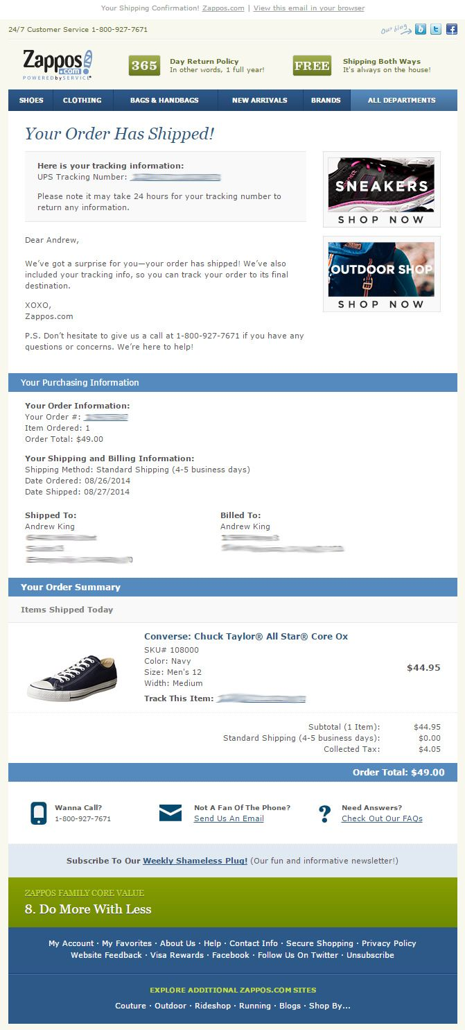 Order confirmation email from Zappos