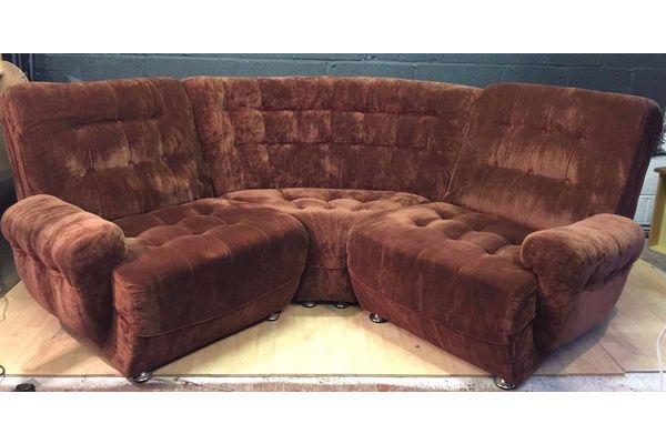 Retro Vintage Mid Century Frayling Modular Brown Corner Sofa   Vinterior London  #midcentury #retro #vintage