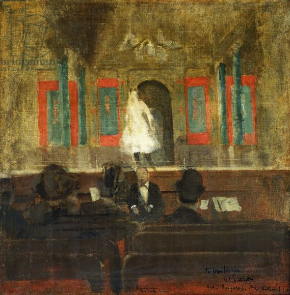 'Queenie Lawrence on the Stage at Gatti's' by Walter Richard Sickert, c.1888 (oil on canvas)