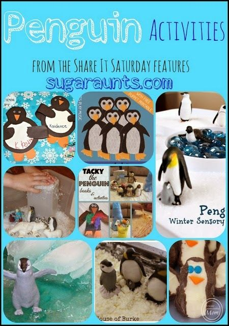 Penguin crafts, activities, books, songs, snacks. From the Share It Saturday features. By Sugar Aunts.