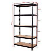 Costway 72'' 5 Level Heavy Duty Shelf Garage Steel Metal Storage Rack Adjustable Shelves Image 2 of 7