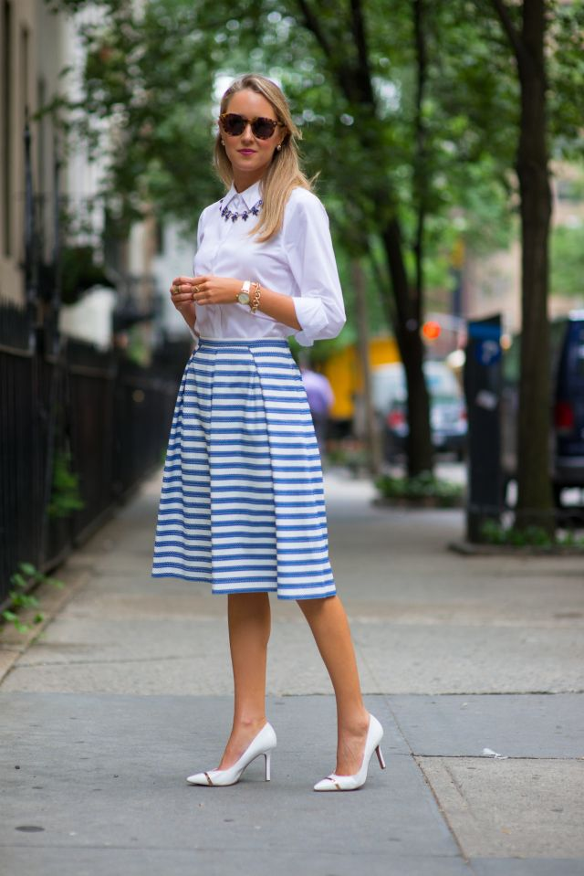 white button down shirt with striped skirt