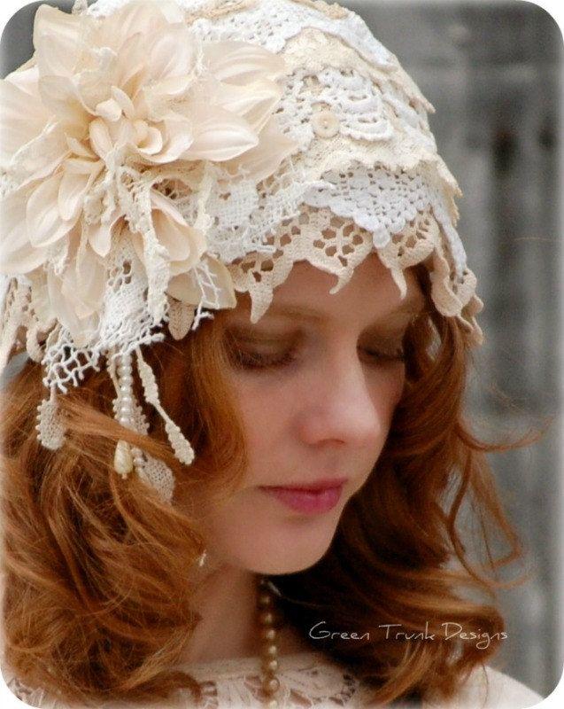 Vintage Style 1920's Lace Wedding Cap, Veil, Flapper Hat, Romantic