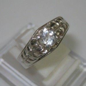 Silver Slash Style Ring 7US White Topaz