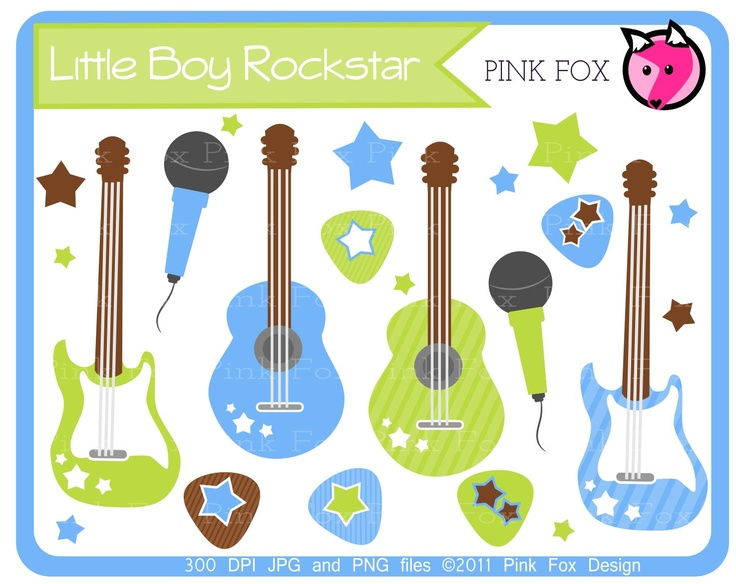 INSTANT DOWNLOAD Little boy rockstar clip art by pinkfoxdesign