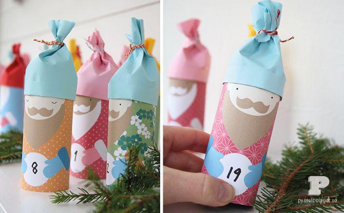 Ladda ner våra tomtemallar och gör en egen julkalender.