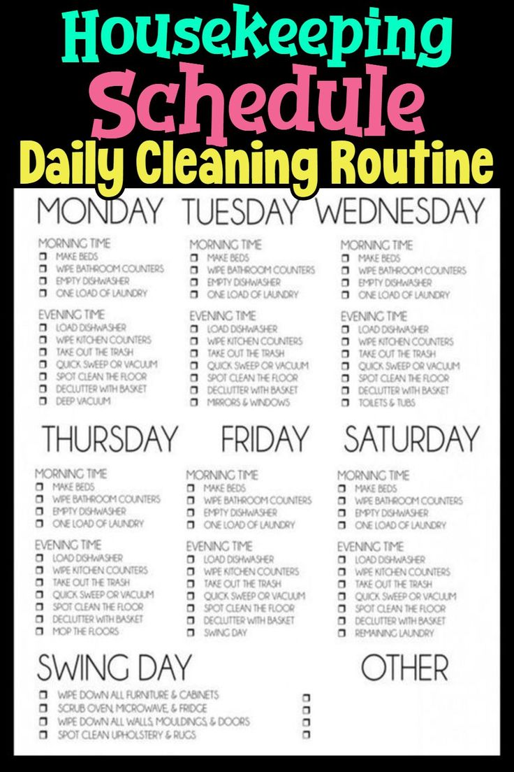 Cleaning Schedules & Checklists (Daily, Weekly, Monthly House Cleaning Chores Li…