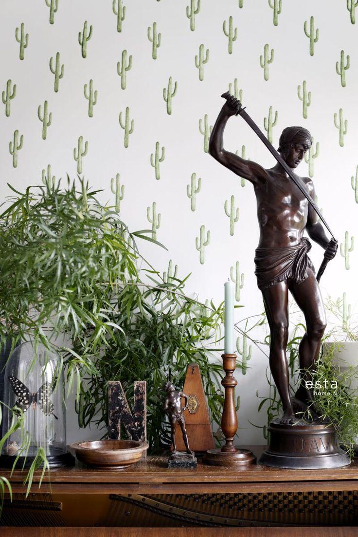 wallpaper Small desert cactus Tropical jungle green 138899 #behang #estahome #tapete #botanisch #botanical #vtwonen #piano #livingroom #woonkamer #groen #tropisch #tropical #jungle #planten #plants