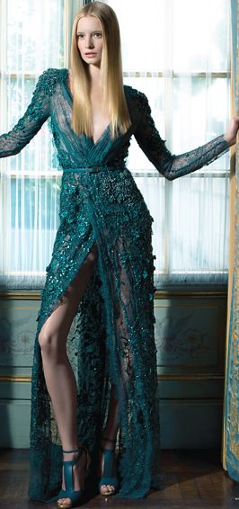 Elie Saab teal blue lace beaded gown