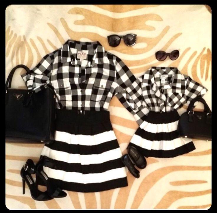 Mommy Skirt Black & White Striped