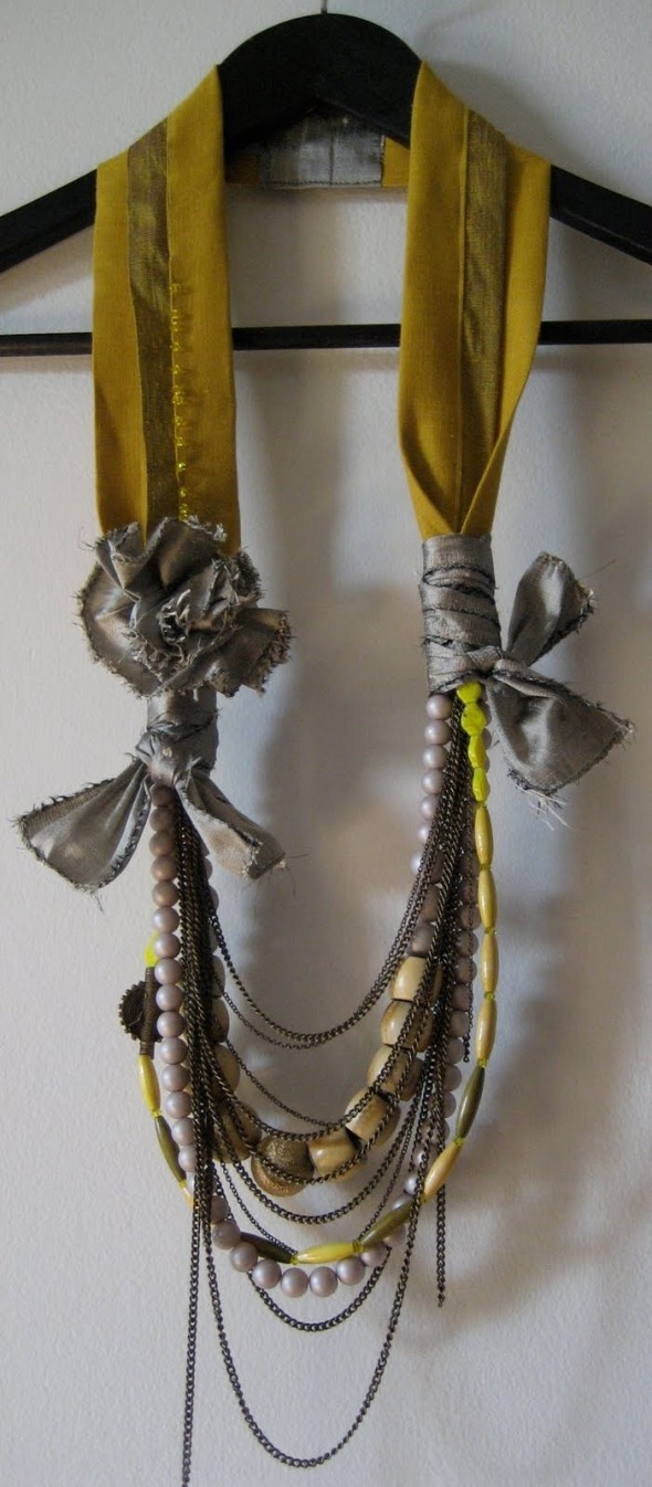 A fun way to use up random pieces of broken jewelry and fabric scraps