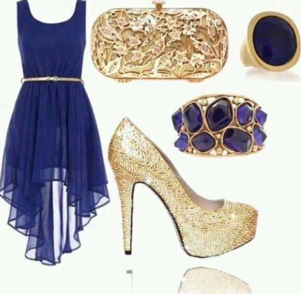 Royal blue dress gold accessories - Blue dress