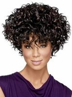 Fashion Newest Sexy Short Kinky Curly Hair Black Wig for America Africa Women womens Cut Pelucas Sinteticas with Bangs