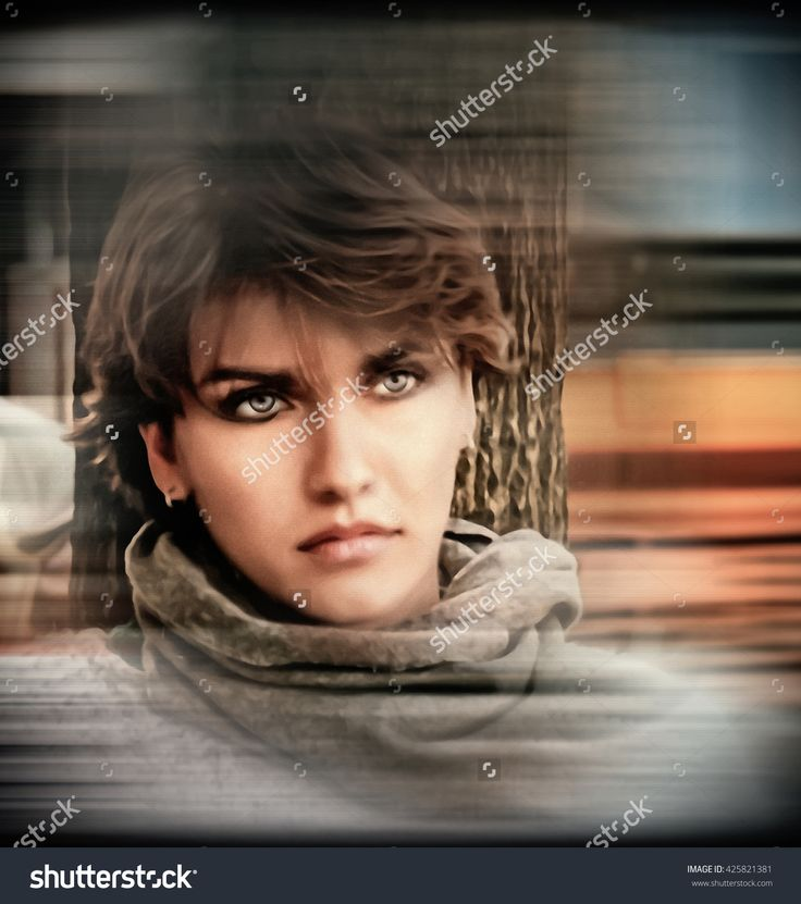 A Beautiful Girl With A Sad Look. Caucasian. Melancholy, Depression. Concept. Digital Processing Illustration Lines, Halftones - 425821381 : Shutterstock
