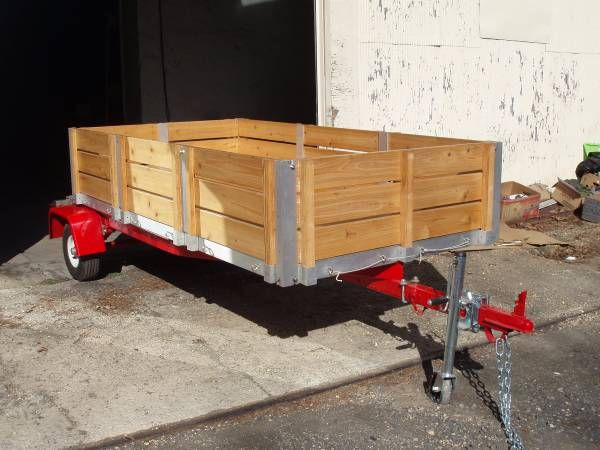 Beautiful Wooden Open Trailer Wagon Red MINT Aluminum 10 x 5 Custom – auto parts – by owner