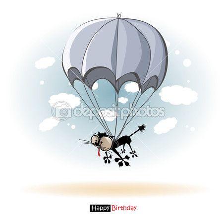 Gelukkige verjaardag glimlach kat met een parachute — Stockvector © novkota1 #41952209