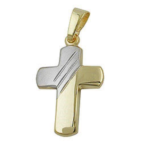 ASS 333 Gold Kommunion Konfirmation Firmung Anhänger Kreuz Kreuzanhänger, bicolor, teilmatt, diamantiert | Your #1 Source for Jewelry and Ac...