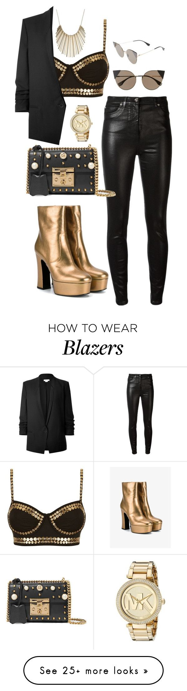 """Untitled #644"" by rockinstyles on Polyvore featuring Norma Kamali, Helmut Lang, Versace, Fendi, Gucci, Michael Kors, Yves Saint Laurent and Jennifer Lopez"