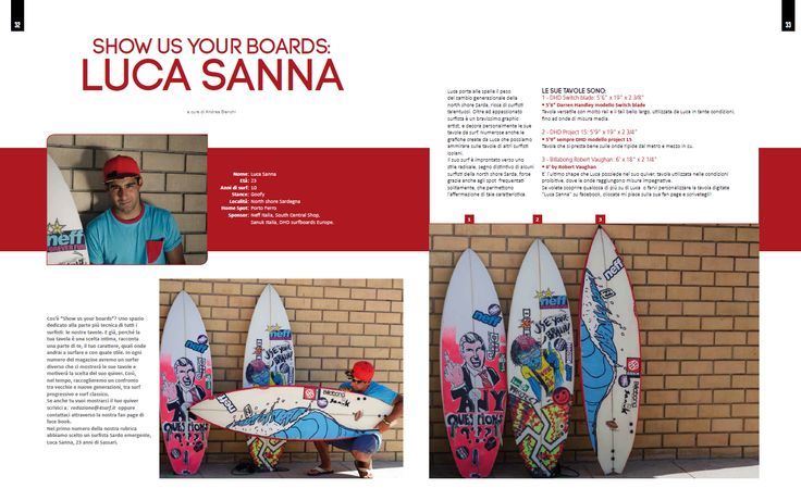 4SURF magazine - n°63 - SHOW US YOUR BOARDS: Luca Sanna - Testo e foto Andrea Bianchi - pag. 32 - 33