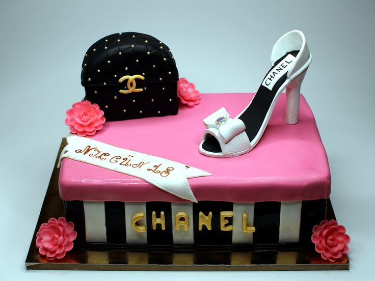 Chanel Birthday Cake for Girl - Sponge cake, soaked, 3layers of fresh cream, italian cheese Mascarpone and fresh raspberries - handbag and shoe made from german marzipan - London http://www.pinkcakeland.co.uk