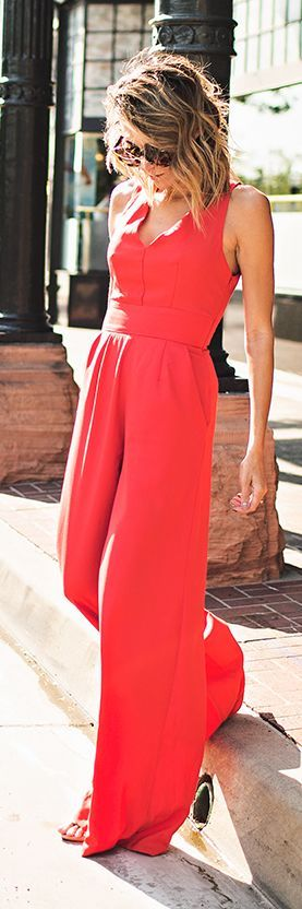 Red Jumpsuit Party Chic Summer Outfit Idea by Hello Fashion