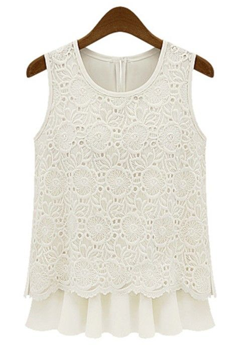 Beige Double-deck Floral Round Neck Sleeveless Lace Blouse
