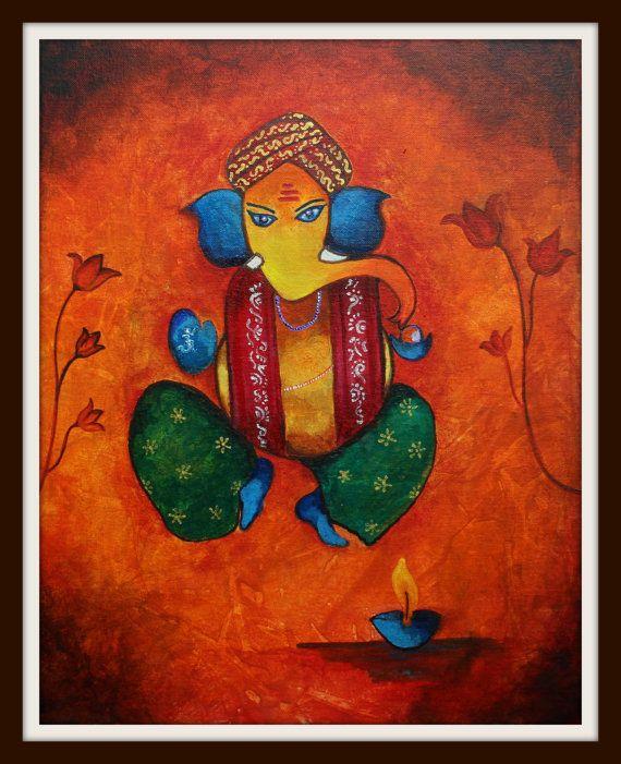 Ganesh, Gemälde, Acryl Gemälde, moderne Ganesha Hindu-Gott-Gemälde, Wohnkultur, Malerei bunt, original Kunst