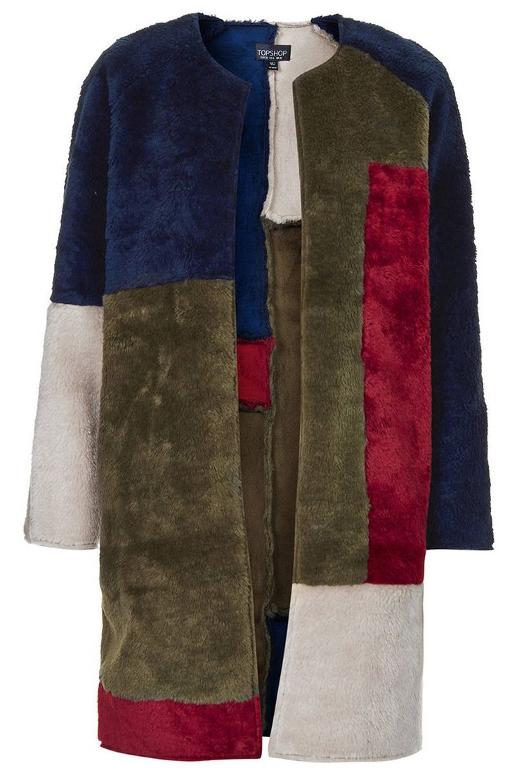Topshop makes an affordable color block faux fur for fall