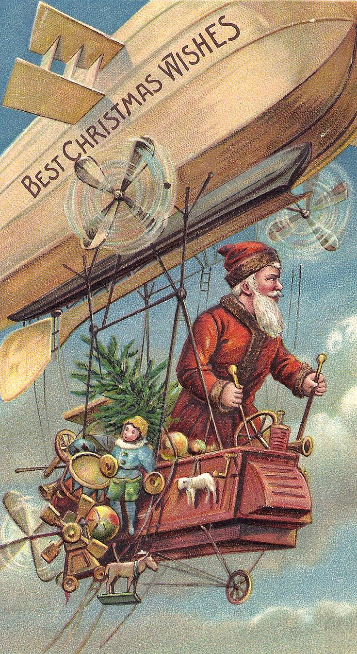 Modern Day Santa, circa First World War.... Flying OVER the battlefields to get to the French kids!