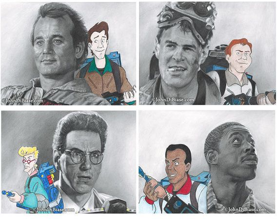 4-Print Pack of the 4 Ghostbusters with their by JohnDiBiaseArt