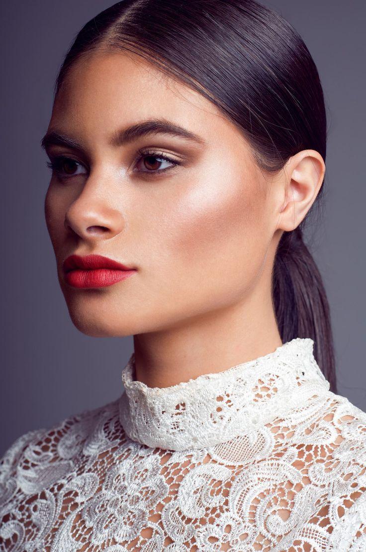 Makeup by Sophie Knox - bridal hairstyle, bridesmaid hairstyle, sleek ponytail. Bridal makeup, bronzed skin, glowing makeup, red lips.