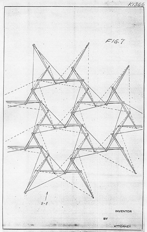 Snelson's 1962 patent drawing of tensegrity truss