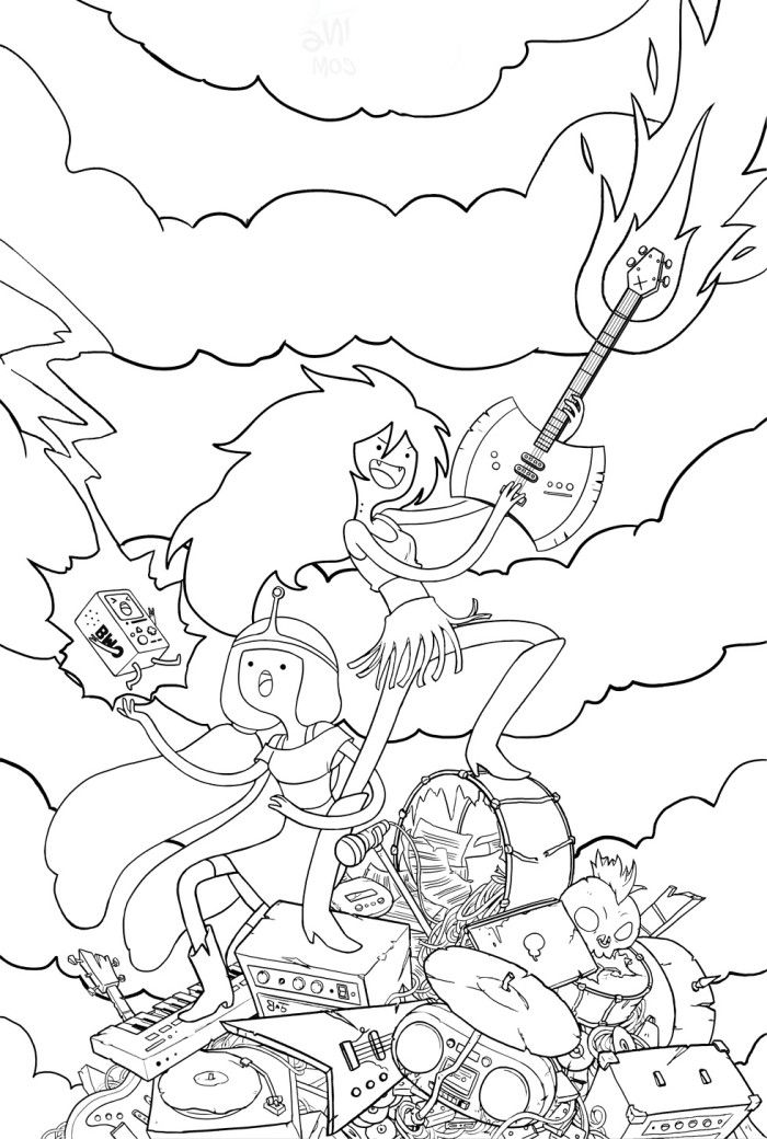 adventure time coloring pages of everyone | Adventure Time Marceline And Princess Bubblegum Coloring ...