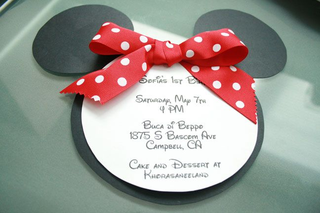 Minnie Mouse invites -- love that it includes templates and instructions to DIY- will do Mickey instead!