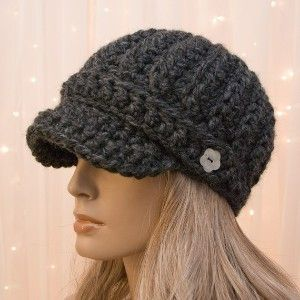 Free Printable Crochet Newsboy Patterns | Crochet Newsboy Hat - Charcoal Gray - Made to Order