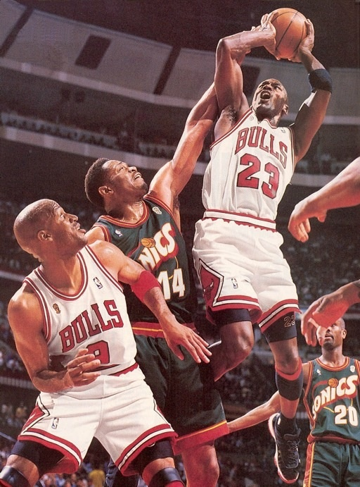 Michael Jordan Chicago Bulls Ron Harper Sam Perkins Gary Payton Seattle Supersonics
